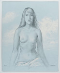 Femen Flora (Sarah) 2015, pencil and chalk on blue paper, 16.25 x13.5 inches.