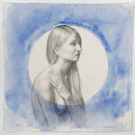 Lunette II (Sarah) 2015, pencil, pastel, and watercolor on paper, 15 x 15 inches