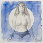 Lunette I (Anna) 2015, pencil, pastel, and watercolor on paper, 15 x 15 inches.