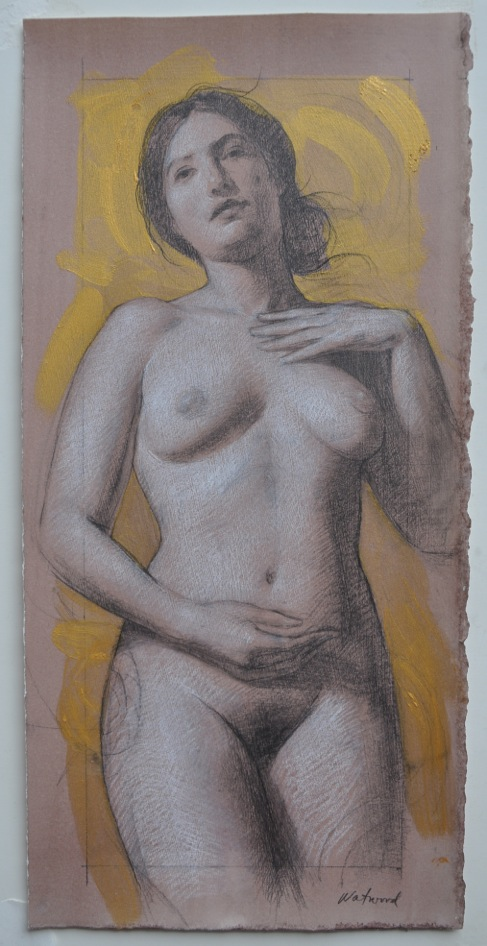 Study for L'Age Dor, 2014, pencil, chalk, mica and watercolor on paper, 15 x 7 inches.